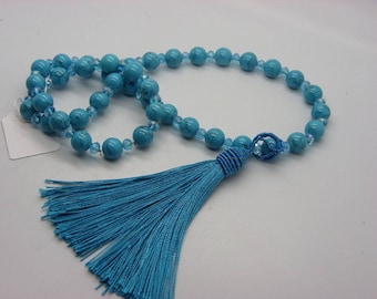 Turquoise jade necklace with turquoise Crystal with a removable tassel