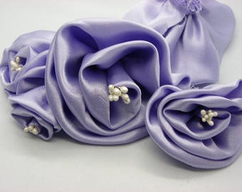 10 beautiful flowers in satin with purple violet beads made by hand