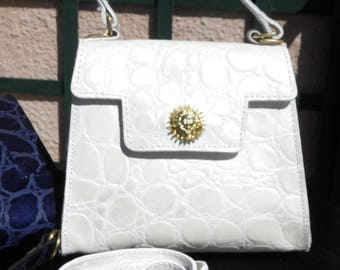 small bag, leather, Croco Pearl with its handle and shoulder White Pearl
