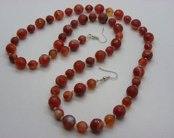 set necklace and earrings made of Rusty orange natural agate