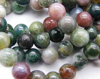 46-47 Indian agate 8 mm rounds with beautiful colors