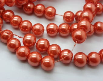 orange glass 8 mm 50 beads 8 mm Pearl