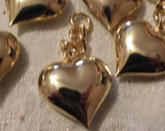 set of 3 hearts brass charm
