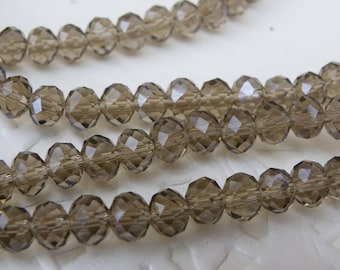 50 beads 6 mm Crystal amber purple abacus way taupe