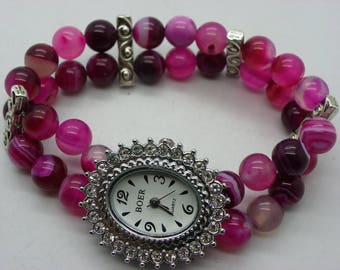 Watch dial pink agate bracelet with Rhinestone watch