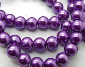 50 beads 8 mm Pearl glass 8 mm purple