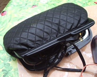 beautiful black lambskin quilted red or black pouch