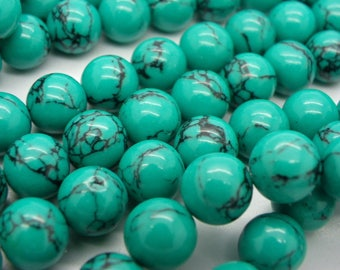 20 turquoise stones from israel natural 10 mm dyed turquoise blue