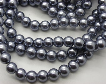 50 8 mm glass Pearl gray pearl beads