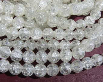 50 white Crackle 10 mm clear Crystal beads