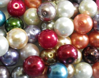 25 beads 12 mm mix any color Pearl, grey, red, blue