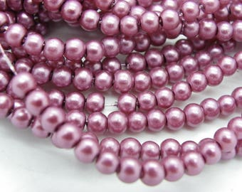 300 bright purple violet glass Pearl 4 mm beads
