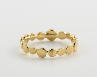 gold Battered dot ring. beaded ring