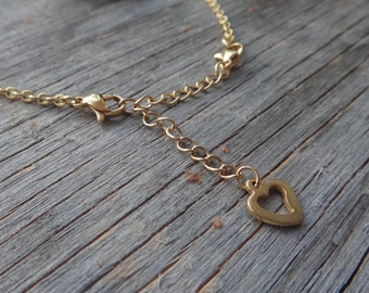 Extension chain necklace. Gold stainless steel extender. Heart. Perfect for layering. Extension. Extender chain gold