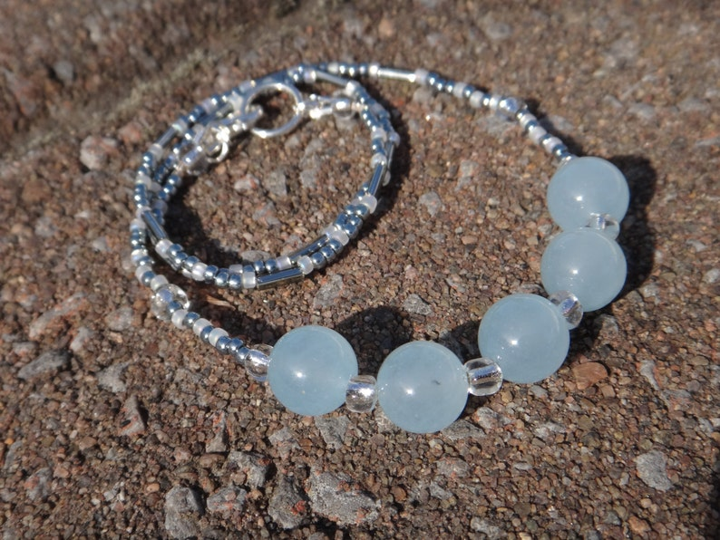 Aquamarine Birthstone Mars Aquamarine necklace Beaded necklace pale blue and silver Natural stones necklace Soothing property