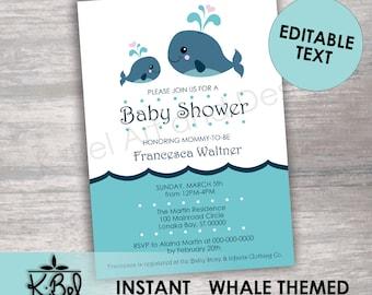 Whale baby shower invitation etsy printable whale themed baby shower invitations editable baby shower invite aqua blue baby shower instant download digital download filmwisefo
