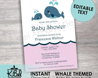 Pink whale invite etsy printable whale themed baby shower invites pink whale invitations editable baby shower invites instant download digital download filmwisefo