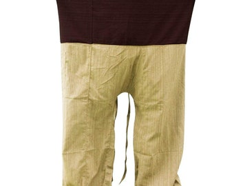 59923fb2e8a 2 TONE Thai Fisherman Pants Yoga Trousers FREE SIZE Plus Size Cotton Drill  Striped Brown