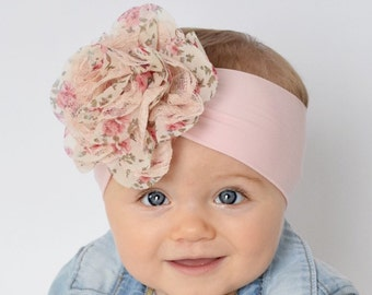 baby Easter headband, pink, floral, stretchy, soft, bow, turban, headwrap, cute, spring kids fashion, baby shower gift present, birthday