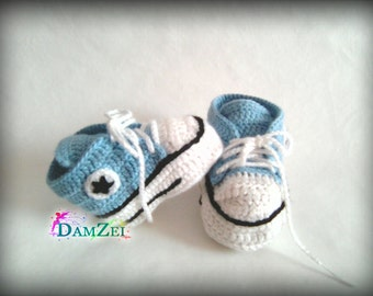 MADE TO ORDER Light Blue crochet Baby booties Newborn Converse Shoes, Infant Crochet Booties, Baby Shoes, Boots for baby, Baby shower gift