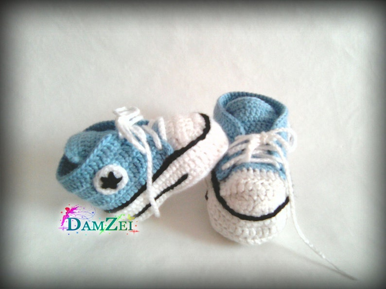 540bd90c92605 Light Blue crochet Baby booties, Newborn Converse Shoes, Baby shower gift