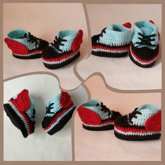 b3b8ea677b533 Blue crochet Baby Booties Sneakers Angel wings, Newborn Converse Shoes,  Baby shower gift