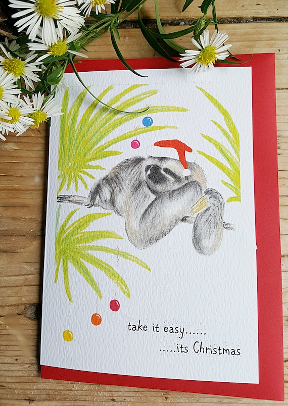 Sloth Christmas Card Christmas Card With A Sloth Funny Sloth Card Sloth Drawing Sloth Painting Picture Of A Sloth Sloth Card Wildlife