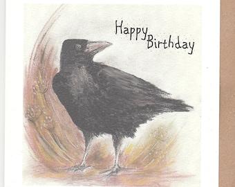 Crow birthday card. Card with a Crow. Bird birthday card. crow art. crow print. crow card. unique birthday card. corvus card