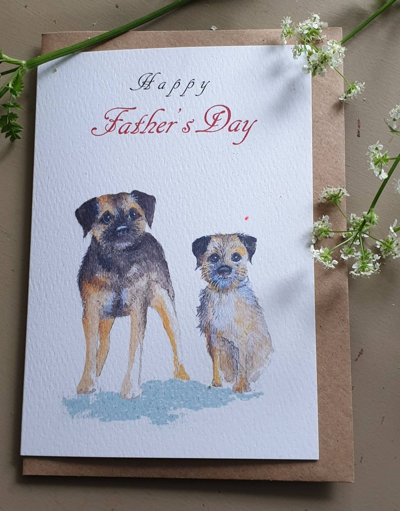 Border Terrier Fathers Day Card Postcards Stationery & Office Supplies