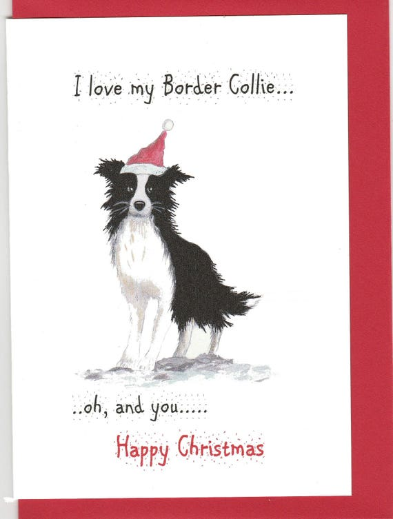 Christmas Card Border.Border Collie Christmas Card Christmas Card Wit A Border Collie Collie Card Card With A Collie Border Collie Gift Funny Chrismas Card