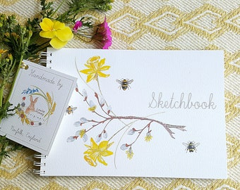 Sketchbook. Beautiful sketchbook with bees. pussywillow and daffodils. Hand made sketchbook. A5 sketch book. Wildlife gift. art gift.