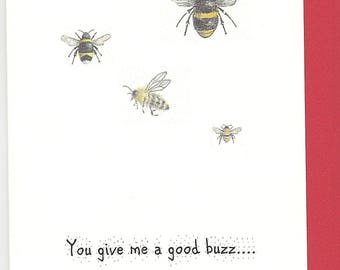 Bee Valentine card. Card for valentine's day. honey bee valentine card. funny valentine.  wildlife valentine card. bumblebee valentine card