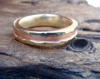 """The """"River"""": 14K Yellow Gold Band with Copper """"Riverbed"""" Inlay and Hammer Finish."""