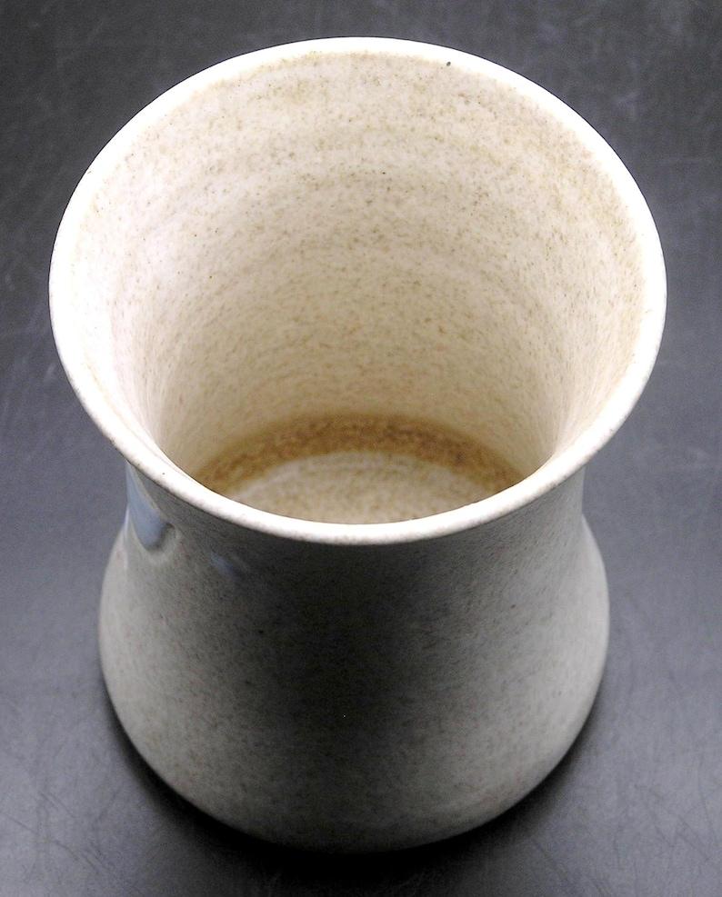 4 14 Signed Canadian Art Pottery Vase Incised Blue Foliage on Sand Matte Finish