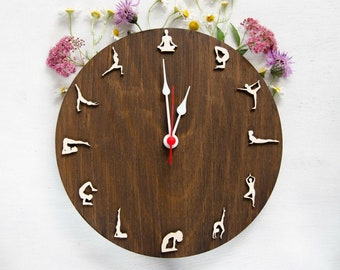 Yoga clock | Yoga gift wood wall clock | Zen Om gift for yoga lover vegan yoga teacher | Yoga practice gift | Namaste yoga clock
