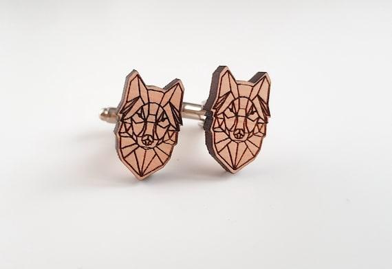 Geometric Fox Cufflinks modern art jewelry for men