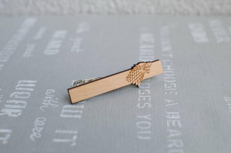 ef6b1a29585b Game of Thrones Wood Tie clip Tie bar Stark Wolf men gift   Etsy