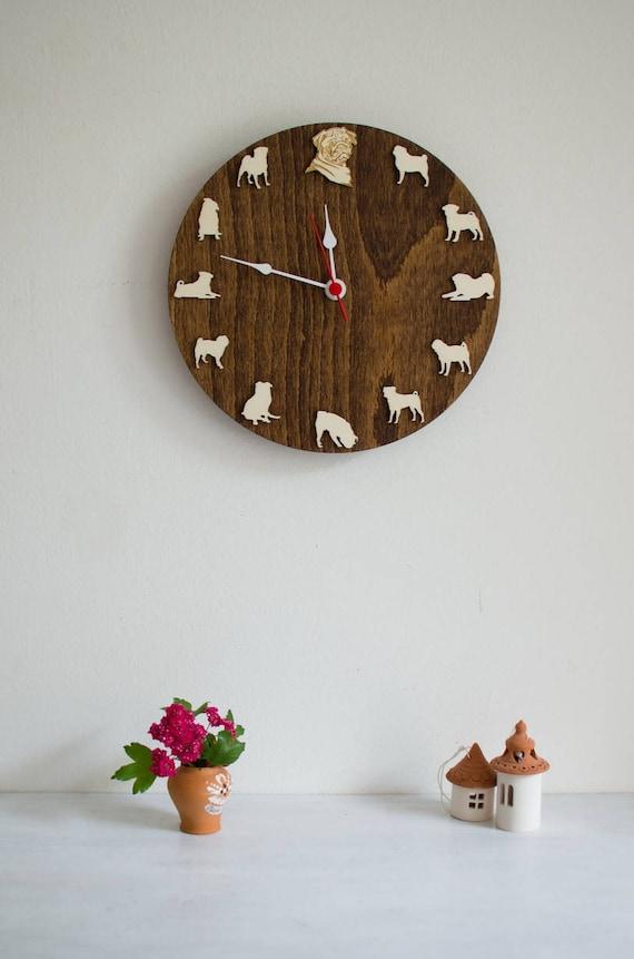 Mops Porträt Holz Uhr Tier Wanduhr Geschenk für Hundeliebhaber | Etsy