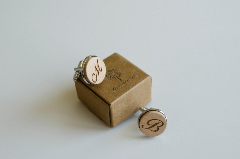 Wood initials cufflinks personalized cuff links Wedding gift Groomsmen accessories