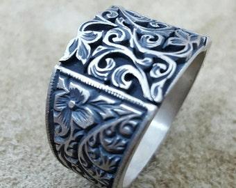 Handmade Silver Mens Ring