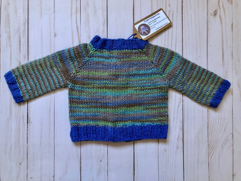 Multi -Color with Blue trim 0-3 months size Car Buttons Organic Cotton yarn Hand Knit Baby Sweater