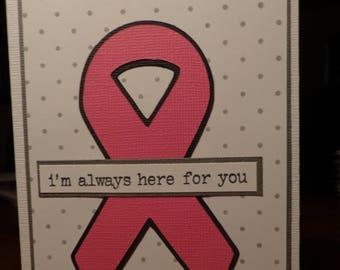 pink ribbon card with gray polka dots