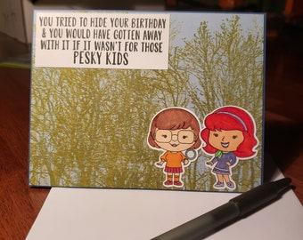 Pesky kids greeting cards