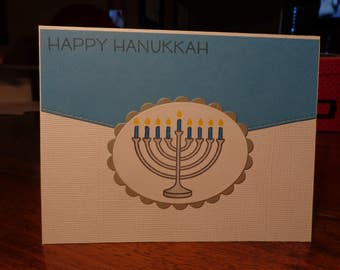 Hanukkah card with blue candles