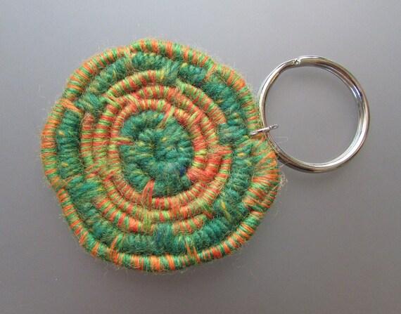 Made with Unique Fun Orange Sparkle /& Magenta Swirl Coiled Jute Fiber Lanyard CharmZipper Pull Colorful Yarns!