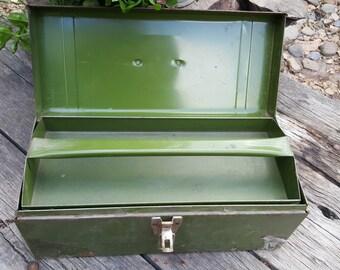 Vintage Utility Metal Tool Box, Green Tool Box, Craft Box, Rustic Tool Box