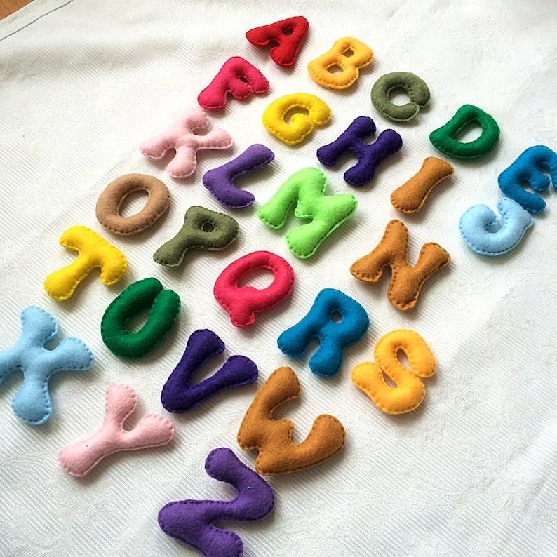 handmade alphabet preschool stuffed alphabet educational game felt ABC baby letters felt nursery toy Colorful felt alphabet