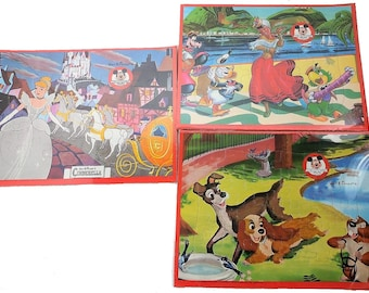 Mickey Mouse Club Vintage Cardboard Puzzles Set of Three