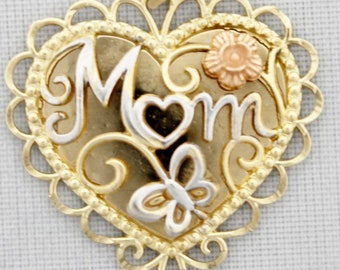 """Rose, White and Yellow Gold """"Mom"""" Scalloped Heart Pendant with Flower Accent"""
