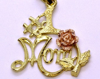 """Rose and Yellow Gold """"#1 Mom"""" Pendant"""